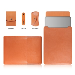 13-inch Universal Large Capacity Leather Shell for Phone Tablets - Orange