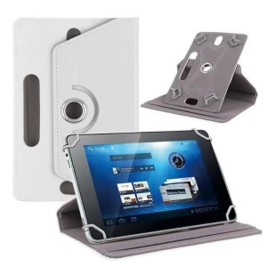 Universal 360-degree Rotary Stand Leather Cover for Samsung Tab 3 7.0 P3200/LG G Pad 7.0 - White