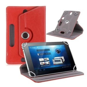 Universal 360-degree Rotary Stand Leather Shell for Samsung Tab 3 7.0 P3200/LG G Pad 7.0 - Red