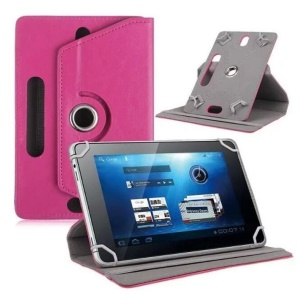 Universal 360-degree Rotary Stand Leather Tablet Case for Samsung Tab 3 7.0 P3200/LG G Pad 7.0 - Rose