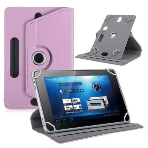 Universal 360-degree Rotary Stand Leather Tablet Cover for Samsung Tab 3 7.0 P3200/LG G Pad 7.0 - Pink