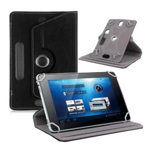 Universal 360-degree Rotary Stand Leather Case for iPad mini 5/Huawei MediaPad T3 8.0 - Black