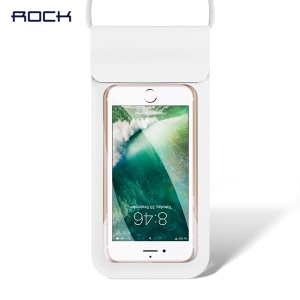 ROCK Universal Touch-friendly IPX8 Waterproof Phone Pouch Bag with Lanyard for iPhone Samsung Huawei etc. (4.7 inch) - White