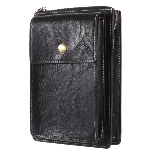 Universal PU Leather Dual Pouch Phone Case Shoulder Bag for iPhone X/8 Plus Etc, Size: 18 x 10.5cm - Black
