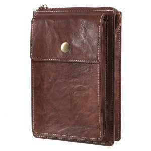 Universal PU Leather Dual Pouch Phone Cover Shoulder Bag for iPhone X/8 Plus Etc, Size: 18 x 10.5cm - Brown