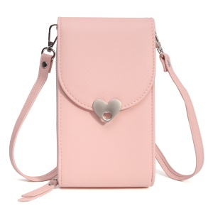 MUSUBO Heart Shape Magnetic Buckle Universal PU Leather Wallet Pouch, Size: 19 x 11cm - Light Pink