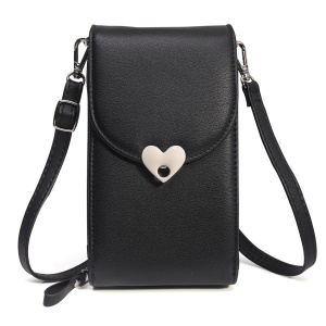 MUSUBO Heart Shape Magnetic Buckle Universal PU Leather Wallet Bag, Size: 19 x 11cm - Black