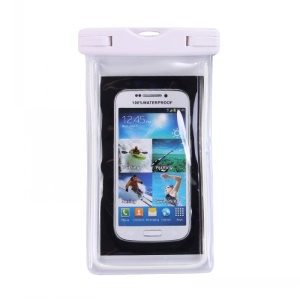 Fluorescent Waterproof ABS + PVC Bag Shell for iPhone Samsung etc, Inner Size: 10.7 x 17.3cm - White