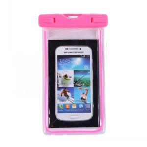 Fluorescent Waterproof ABS + PVC Bag Casing for iPhone Samsung etc, Inner Size: 10.7 x 17.3cm - Rose