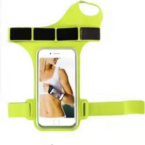 Adjustable 6 inch Outdoor Sports Nylon Gym Sports Armband Pouch with Finger Hole - Green