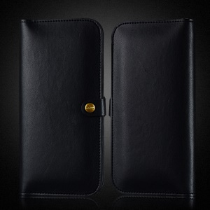 WUW Universal Bi-fold Double Pouch Leather Wallet for iPhone 8/Google Pixel 2, Size: 15 x 8cm - Black