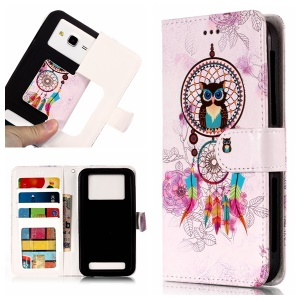 Dream Catcher and Owl - Universal Embossed Patterned Leather Wallet Flip Cover for LG K8 (2018)/Galaxy J3 (2018)