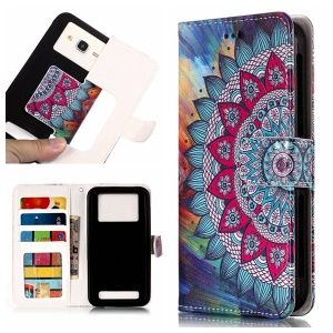 Mandala Flower - Universal Embossed Patterned Leather Wallet Flip Cover for LG K8 (2018)/Galaxy J3 (2018)