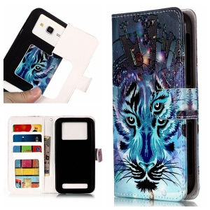 Wolf - Universal Embossed Patterned Leather Wallet Flip Cover for LG K8 (2018)/Galaxy J3 (2018)