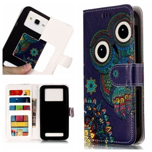 Tribal Style Owl - Universal Embossed Patterned Leather Wallet Flip Cover for LG K8 (2018)/Galaxy J3 (2018)