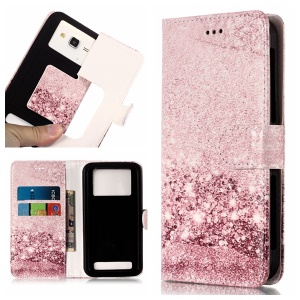 Glittery Sequins - Universal Patterned Leather Wallet Cell Phone Case for LG K8 (2018)/Galaxy J3 (2018)