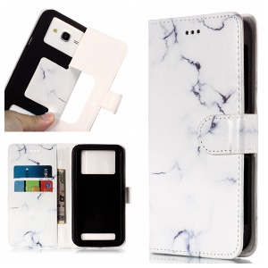 White Marble - Pattern Printing Leather Wallet Universal Case Cover for iPhone 8 Plus/Galaxy J7 (2018)