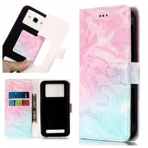 Blue and Rose Lava - Pattern Printing Leather Wallet Universal Case Cover for iPhone 8 Plus/Galaxy J7 (2018)