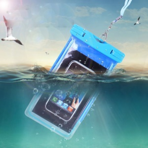 Blue - Fluorescent Waterproof ABS + PVC Bag Case for iPhone Samsung etc, Inner Size: 10.7 x 17.3cm