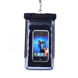 Black - Fluorescent Waterproof ABS + PVC Bag Case for iPhone Samsung etc, Inner Size: 10.7 x 17.3cm