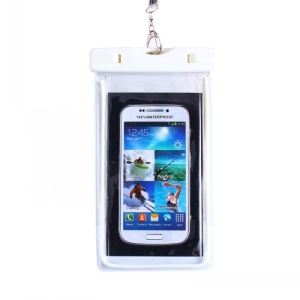 White - Fluorescent Waterproof ABS + PVC Bag Case for iPhone Samsung etc, Inner Size: 10.7 x 17.3cm