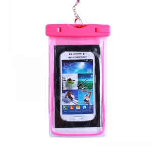 Rose - Fluorescent Waterproof ABS + PVC Bag Case for iPhone Samsung etc, Inner Size: 10.7 x 17.3cm