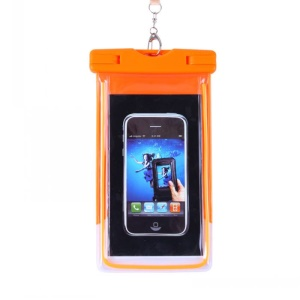 Orange - Fluorescent Waterproof ABS + PVC Bag Case for iPhone Samsung etc, Inner Size: 10.7 x 17.3cm