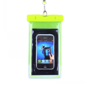 Green - Fluorescent Waterproof ABS + PVC Bag Case for iPhone Samsung etc, Inner Size: 10.7 x 17.3cm