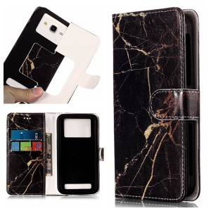 Black and Gold Marble - Universal Patterned Leather Wallet Protective Case for Samsung Galaxy Star S5280 S5282
