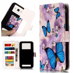 Blue Butterflies and Flower - Embossed Patterned Leather Wallet Universal Mobile Case for iPhone SE/Motorola Moto E