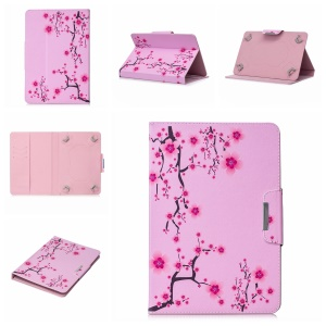 Pattern Printing Universal Stand Leather Wallet Cover for 8-inch Tablet PC - Plum Blossom