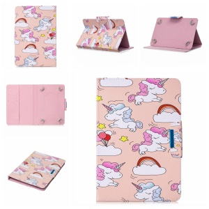 Pattern Printing Universal Leather Wallet Case Cover for 8-inch Tablet PC - Unicorns and Cloud