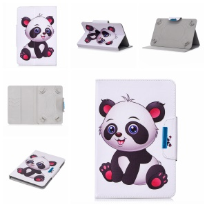 Pattern Printing Universal Leather Stand Case with Card Slots for 8-inch Tablet PC - Panda Pattern