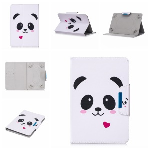 Pattern Printing Universal Magnetic Leather Stand Cover for 10-inch Tablet PC - Panda and Heart