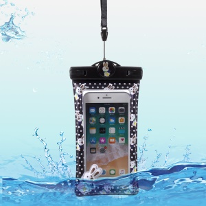 Cartoon Pattern Universal Waterproof Bag Case for 6-inch Smartphone - Black