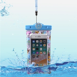 Cartoon Pattern Universal Waterproof Bag Pouch Case for 6-inch Smartphone - Blue
