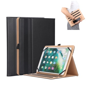 Universal Foldable Stand PU Leather Protective Case with Hand Strap for Huawei MediaPad M5 10 - Black
