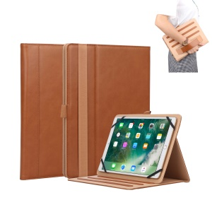 Universal Foldable Stand PU Leather Protective Cover with Hand Strap for Huawei MediaPad M5 10 - Brown