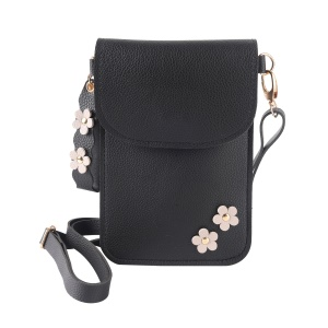 MUSUBO Flower Decor PU Leather Pouch Bag with Shoulder Strap for iPhone X / 8 Plus / 7 Plus/7 Samsung Note7 Etc - Black