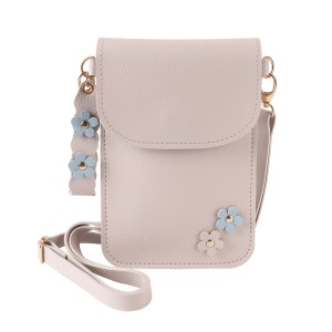MUSUBO Flower Decor PU Leather Pouch Wallet Bag with Shoulder Strap for iPhone X / 8 Plus / 7 Plus/7 Samsung Note7 Etc - Beige