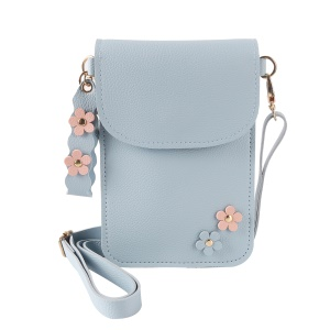 MUSUBO Flower Decor PU Leather Pouch Phone Shoulder Bag for iPhone X / 8 Plus / 7 Plus/7 Samsung Note7 Etc - Baby Blue