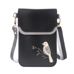 MUSUBO Bird Pattern Universal PU Leather Pouch Wallet Bag with Shoulder Strap for iPhone X/8 Plus/7 Plus etc, Size: 18 x 12.7cm - Black