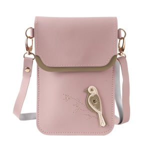 MUSUBO Bird Pattern Universal PU Leather Pouch Shoulder Bag for iPhone X/8 Plus/7 Plus etc, Size: 18 x 12.7cm - Light Pink