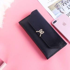 MUSUBO Universal Elegant Rabbit Multi-pocket Leather Purse Handbag for iPhone X/Huawei Mate 10, Size: 7.6'' x 3.9'' - Black