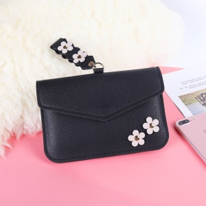 MUSUBO Universal Flower Design Leather Pouch Handbag for iPhone X/Huawei Mate 10, Size: 7.5'' x 5'' - Black