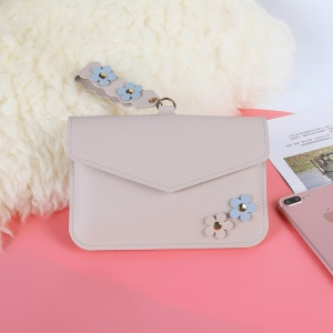 MUSUBO Universal Flower Design Leather Wallet Shoulder Bag for iPhone X/Huawei Mate 10, Size: 7.5'' x 5'' - Beige