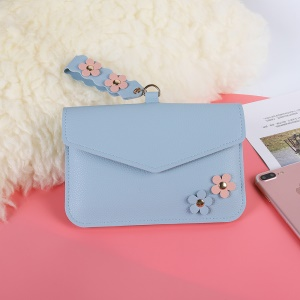 MUSUBO Universal Flower Design Leather Purse Clutch Bag for iPhone X/Huawei Mate 10, Size: 7.5'' x 5'' - Blue