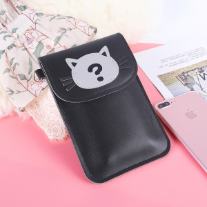 MUSUBO Cat Pattern Universal Vertical Leather Wallet Messenger Bag for Huawei Mate 10 Pro/Galaxy Note 8, Size: 7.3'' x 5'' - Black