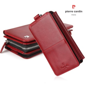 PIERRE CARDIN Detachable 2-in-1 Multi-functional Leather Wallet Pouch Stand Case for iPhone XS / X, Size: 6.4 x 3.65 x 1.62 inch - Red