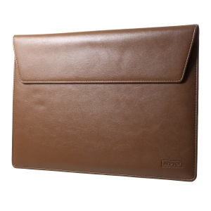 Elegant Series Universal Leather Laptop Sleeve Pocket for MacBook 12-inch, Size: 31x22cm - Brown